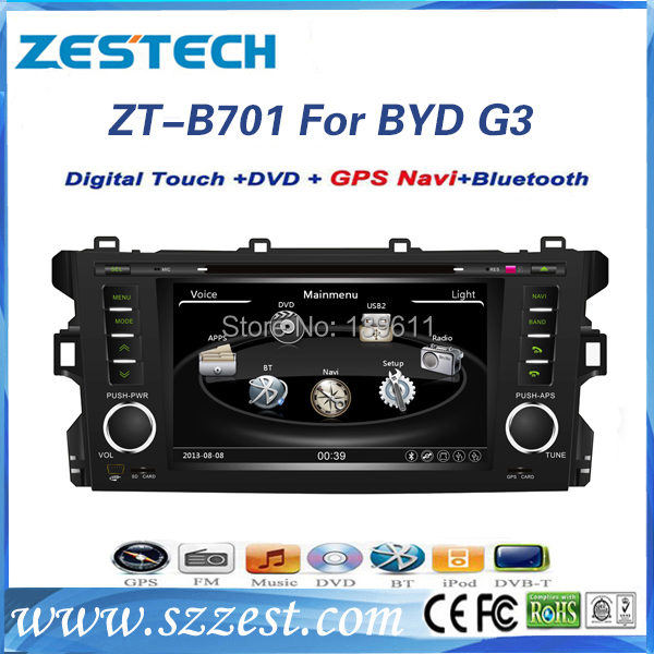 ZESTECH China Wholesale car dvd manufacture car gps navigation system for BYD G3(China (Mainland))