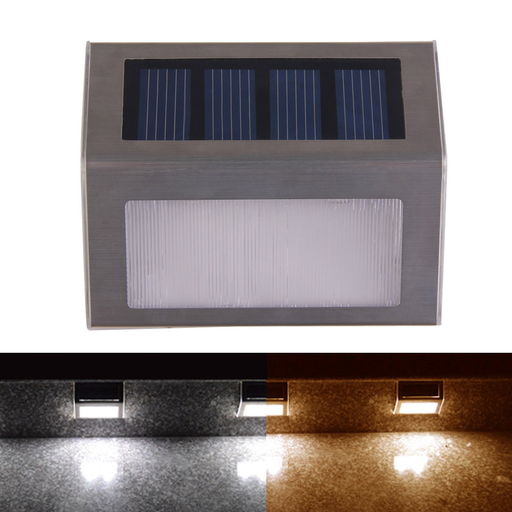 New Design Outdoor Solar Power 2LED Bright Light Garden Pathway Stairs Lamps Solar Lighting(China (Mainland))
