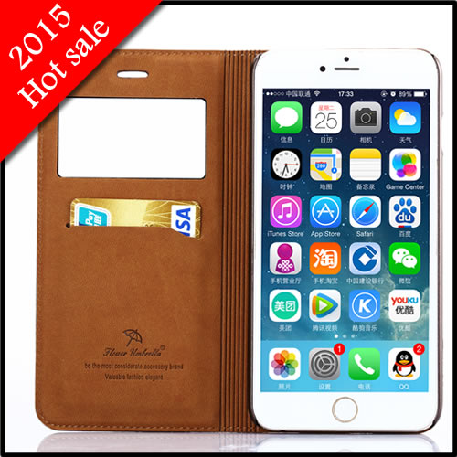 Window View Case iPhone 6 plus 5.5 Cover full grain leather Flip Wallet Card slot Stand Bags Luxury 2015stock - ChinaTop Technology store