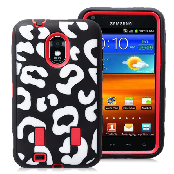 Combo 2 in 1 Leopard Design Hybrid Case for Samsung Galaxy S2 Epic 4G Touch D710 Building in Screen Protector CPAM Free Shipping(China (Mainland))