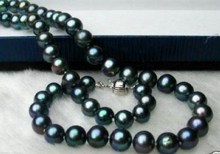 """8-9MM GENUINE BLACK TAHITIAN PEARL NECKLACE 18"""" / Free Shipping(China (Mainland))"""