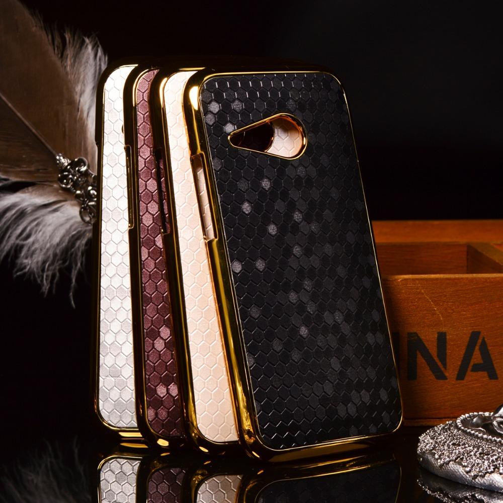 Гаджет  New Design Luxury Plating Golden PC+ Soccer Grain PU Leather Hard Plastic Material Phone Cases For HTC One 2 M8 Mini Case Cover None Телефоны и Телекоммуникации