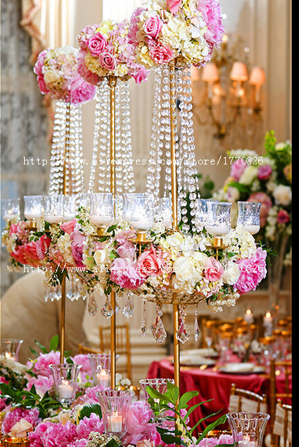 Free shipment pcs lots crystal wedding centerpiece flower