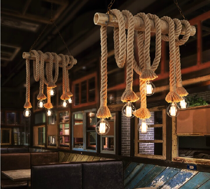 Vintage Rope Pendant Lights Lamp Loft Creative Personality Industrial Lamp Edison Bulb American Style For Living Room decoration(China (Mainland))