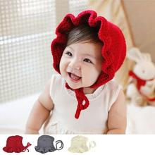 Newborn Infant knitted hats Solid Princess Caps Cute baby Girls bonnet newborn photography props(China (Mainland))