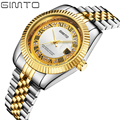 2016 Luxury GIMTO Gold Quartz watch Men Business Watches Stainless Steel Date Waterproof Male Watch Relogio