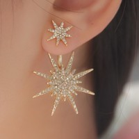 2 Pcs/Pair Bling Sparking Luxury 18 K Gold Plated Austria Crystal Rhinestone Plant Sun Flower Star Stud Earrings Earrings Women