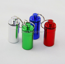 Mini keychain round aluminum pill bottle travel aluminum pill box keyring Tablet Box Container 500pcs(China (Mainland))