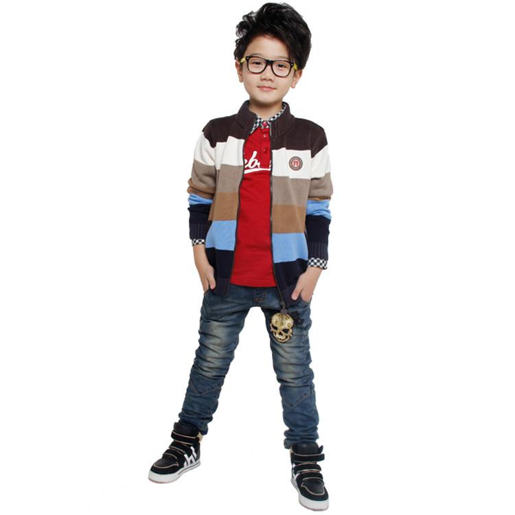 2015 spring and autumn fashion boys cardigan sweater little boys casual long sleeve striped cardigan sweater coat YBA51463(China (Mainland))