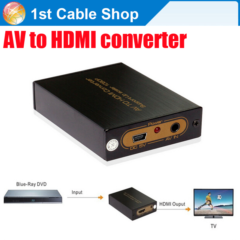 Free shipping 1PCS High quality CVBS RCA AV to HDMI converter scaler up to 1080P supported(China (Mainland))