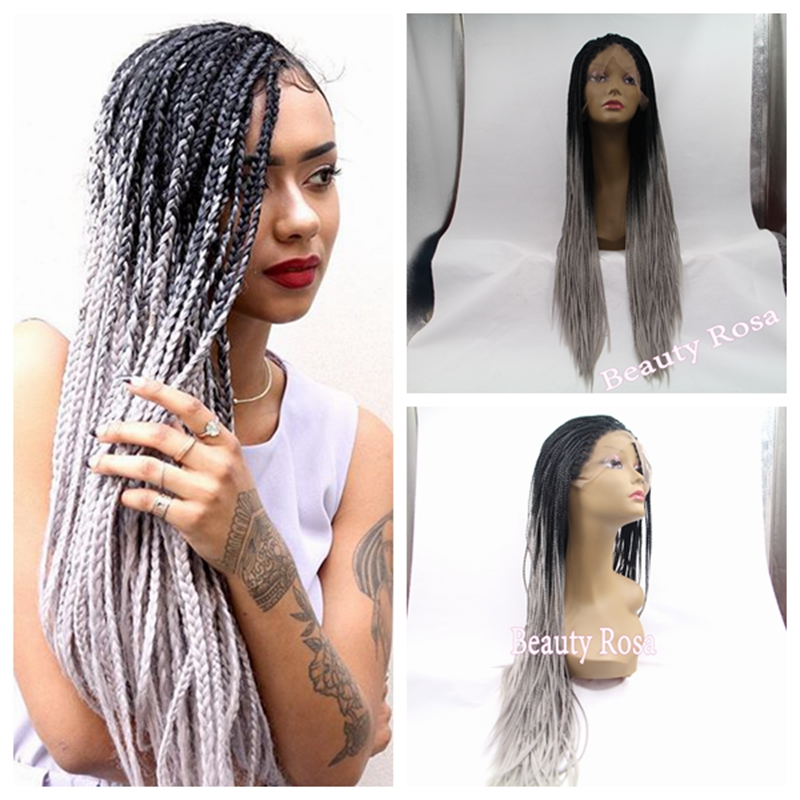 Fashion Gray Wig Omber Black To Sliver Grey Braided Lace Front Heat Resistant Hair Box Braids