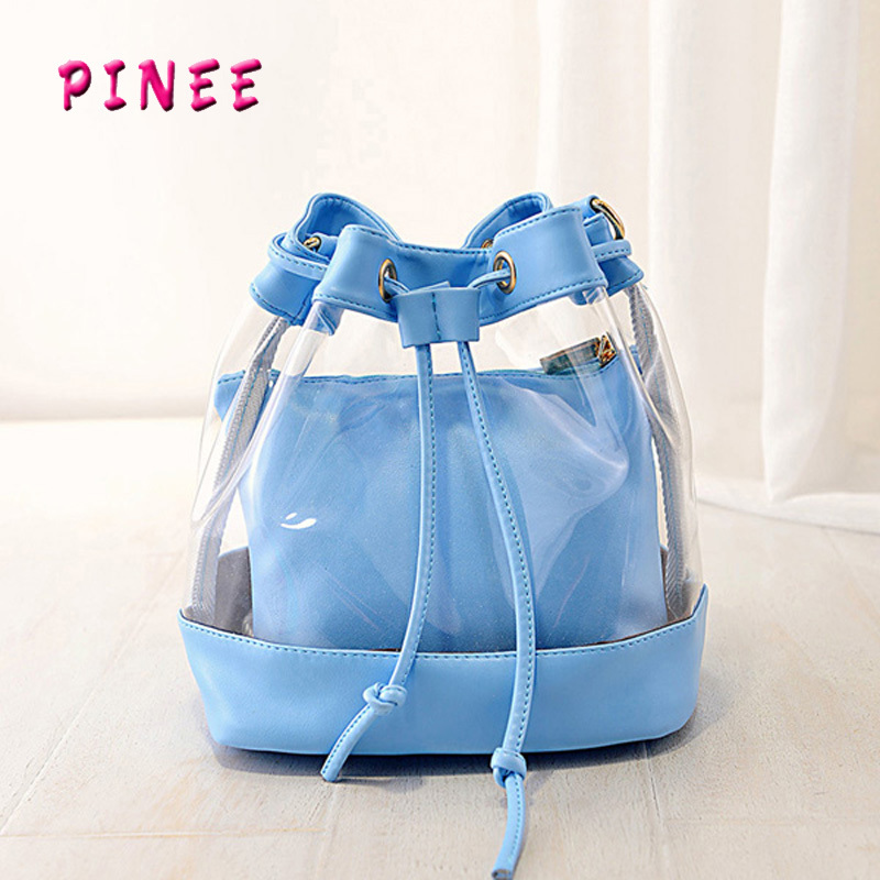 2015 the new tide of summer jelly bag transparent crystal bucket shoulder bag beach bag bag portable(China (Mainland))