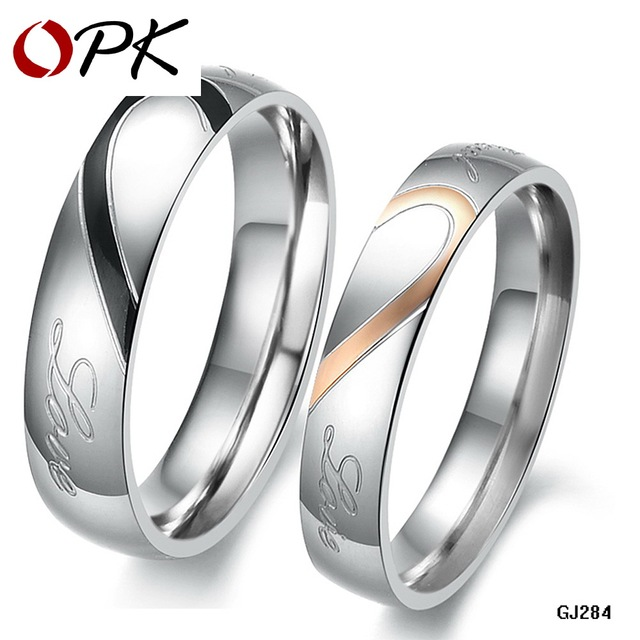 OPK JEWELRY 316L Stainless Steel Silver Half Heart Simple Circle Real Love Couple Ring Wedding Rings Engagement Rings