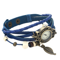 New Vintage Quartz Women Dress Watchs Wrap Tree leaf Pendant Synthetic Leather Bracelet Wrist Watch