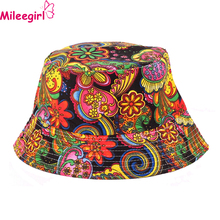 Mileegirl Women Floral Sun Hat,Summer Beach Flower Canvas Boonie Fisherman Hats,Sun Protection Fishing Bucket Hat Cap For Girl(China (Mainland))