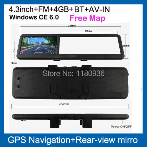 rear view mirror car gps navigator navigation 4.3 inch with bluetooth AV-IN touch screen hot selling(China (Mainland))