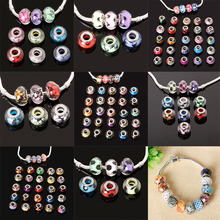 Fashion 50pcs/lot 10*14mm Random Mix European Glitter Powder Cut Faceted Big Hole Beads for DIY Charms Bracelet Jewelry Findings(China (Mainland))