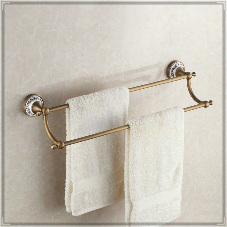 Towel rack copper bathroom accessories double fashion antique bathroom towel bar /towel rack /towel holder HJ-1811 wash tub(China (Mainland))