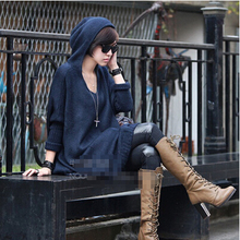 oversized hooded women sweater long batwing loose knitted pullovers coat vestido sueter mujer femme robe pull vestido camisola(China (Mainland))