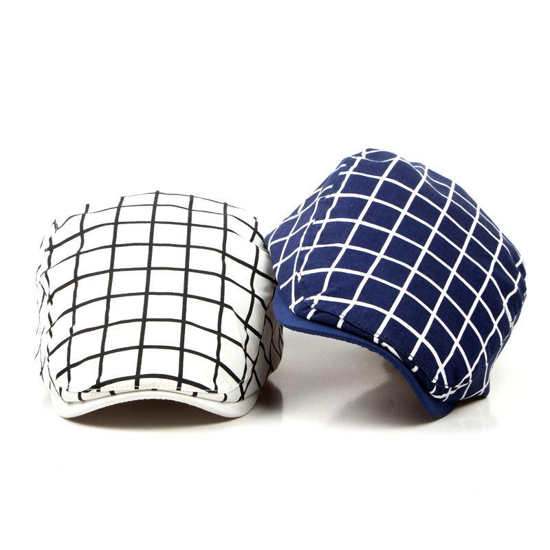 New Fashion Sports Berets Caps For Men Women Classic Unisex Cotton Plaid Caps Berets Hats Boina Casquette Outdoors Flat Cap(China (Mainland))