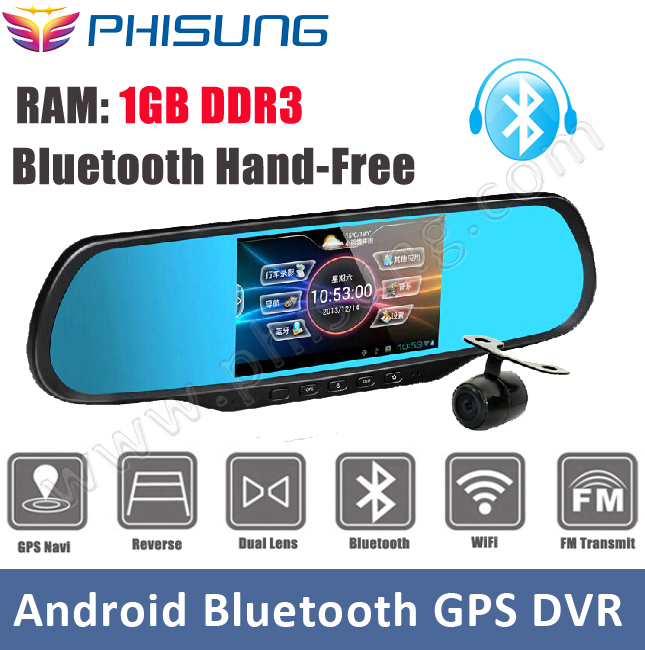 "Phisung 5.0""Touch Dual Cam Car DVRS with 1GB RAM 8GB ROM WiFi FM GPS Navigation Bluetooth Car Kits Car Mirror Android Cameras(China (Mainland))"