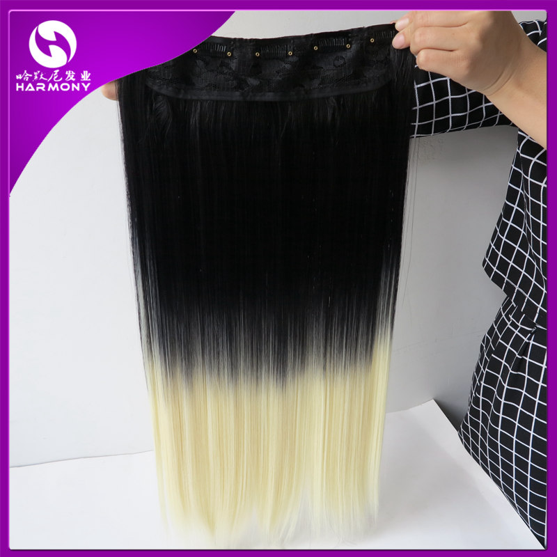 Stock #1b/613 Color 5 Clips Synthetic Hair Clip In Hair Extensions piece Silk Straight 22inch can flat iron and curl(China (Mainland))