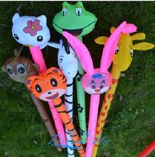 Free Shipping Pvc inflatable child toy animal head long stick bugs bunny monney stick(China (Mainland))