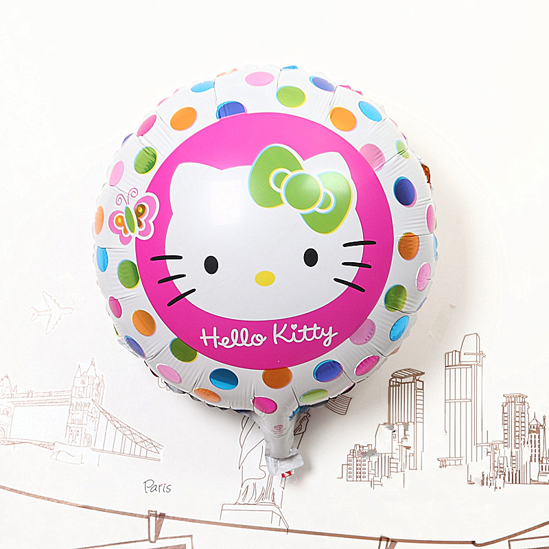 New Fashion 100pcs/lot 18 inch round Hello kitty balloon , helium balloons Birthday party decoration Free shipping baby toys