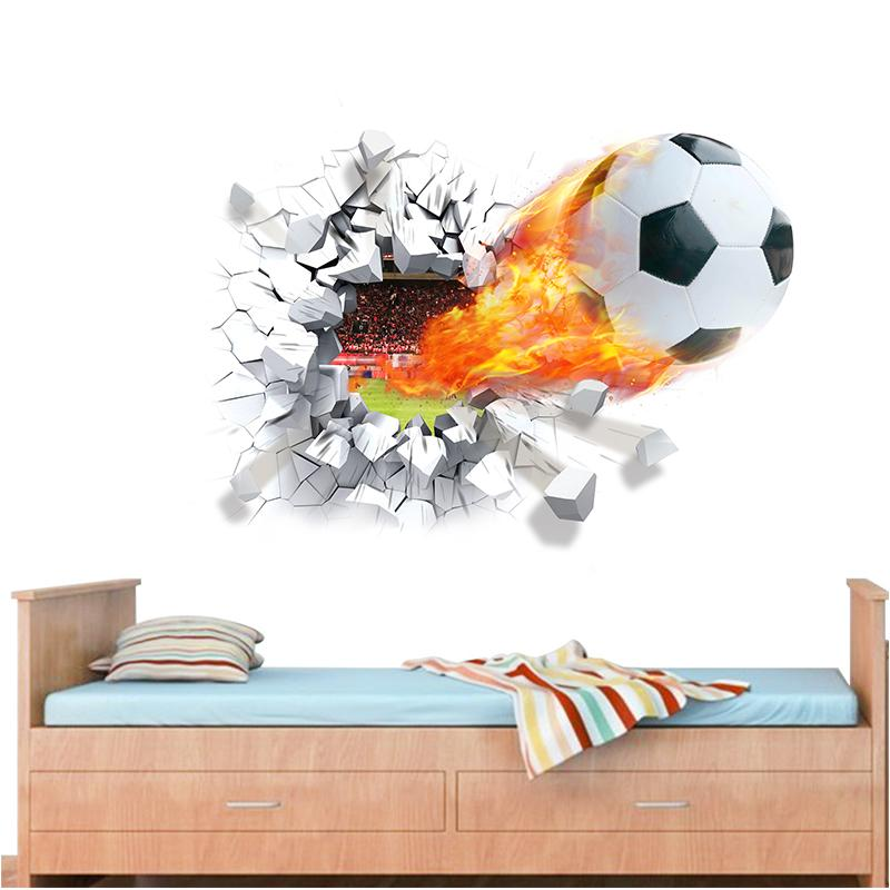 firing football through wall stickers kids room decoration 1473. home decals soccer funs 3d mural art sport game pvc poster 5.0(China (Mainland))