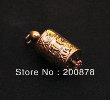 TGB083 Tibetan Golden and silver color Prayer wheel box Tibet Mani amulet charms pendant,Lucky Babao