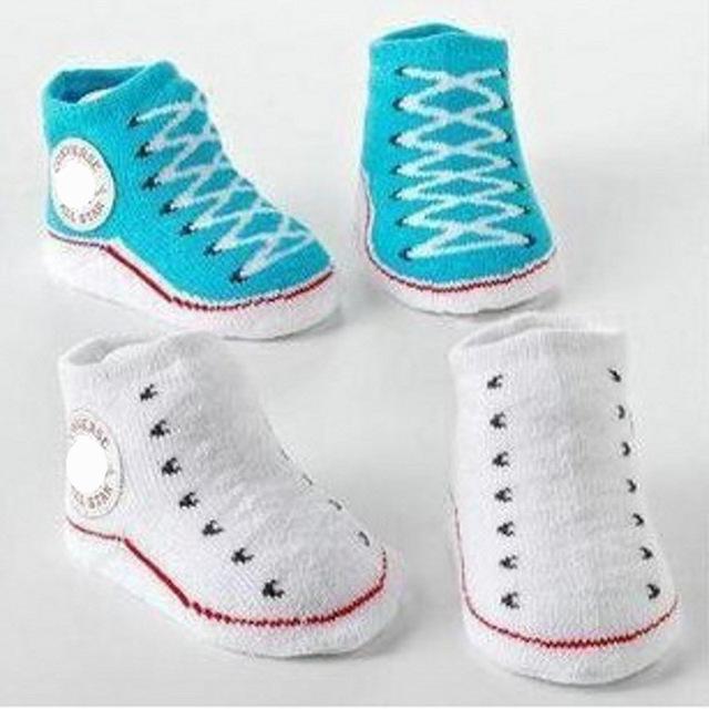 1 пара новорожденный милый ребенок носки полосатые теплые открытый ходьбы обувь с ...
