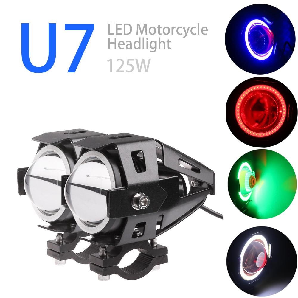 2pcs Car Motorcycles LED Fog Light Cree U7 125W 3000LM 4 Color Circles DRL Motorcycle Headlights Driving Lights Spotlight(China (Mainland))