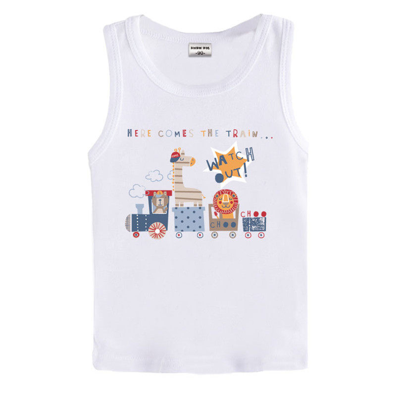 Lovely cartoon 3-7 years old baby Kids cotton White T Shirt boys girls short fine cotton toddler kids Tees infant vest(China (Mainland))