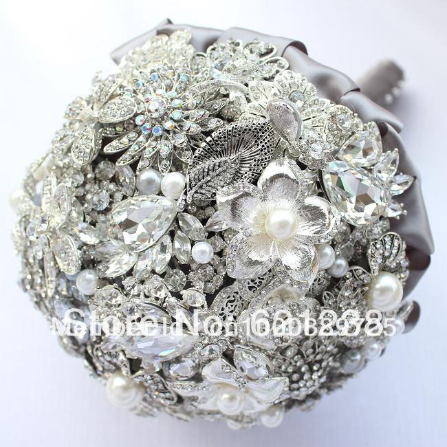 Aliexpress Buy East Handmade Jewelry Brooch Bouquet Wedding Bride Holding Flowers Silvery