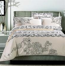 Hot Sale 100% Cotton Home Textile Elegant/Embroider/Aesthete/Decor 4Pcs Bedding set(Duvet Cover+bed sheet+Pillowcase)(China (Mainland))