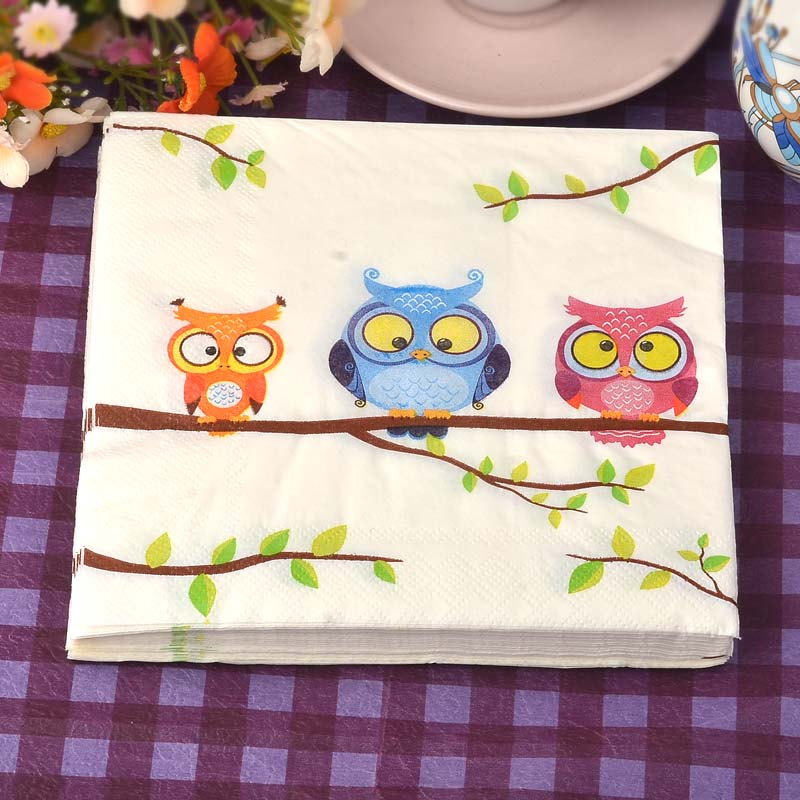 20pcs / lot*2 Color napkin owl handkerchiefs 33cm 2ply