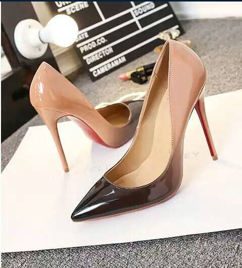 High Quality 2016 Luxury Brand Red bottom High heels shoes Women fashion designer Pumps Thin heels party Nude wedding shoes 43(China (Mainland))