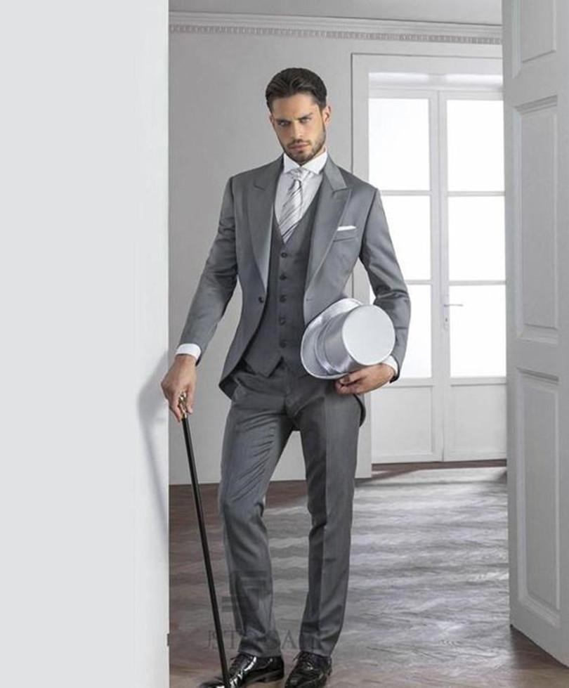 Suits Dinner Groom Tuxedo Light Gray Custom Made Suit Men For Wedding Formal Wear 2016 Free ...