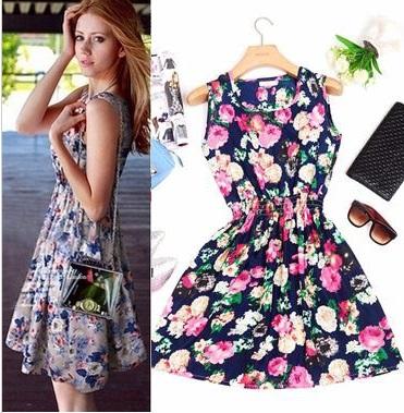 2015 spring summer autumn dress new Korean Women casual Bohemian floral leopard sleeveless vest printed beach chiffon dress(China (Mainland))