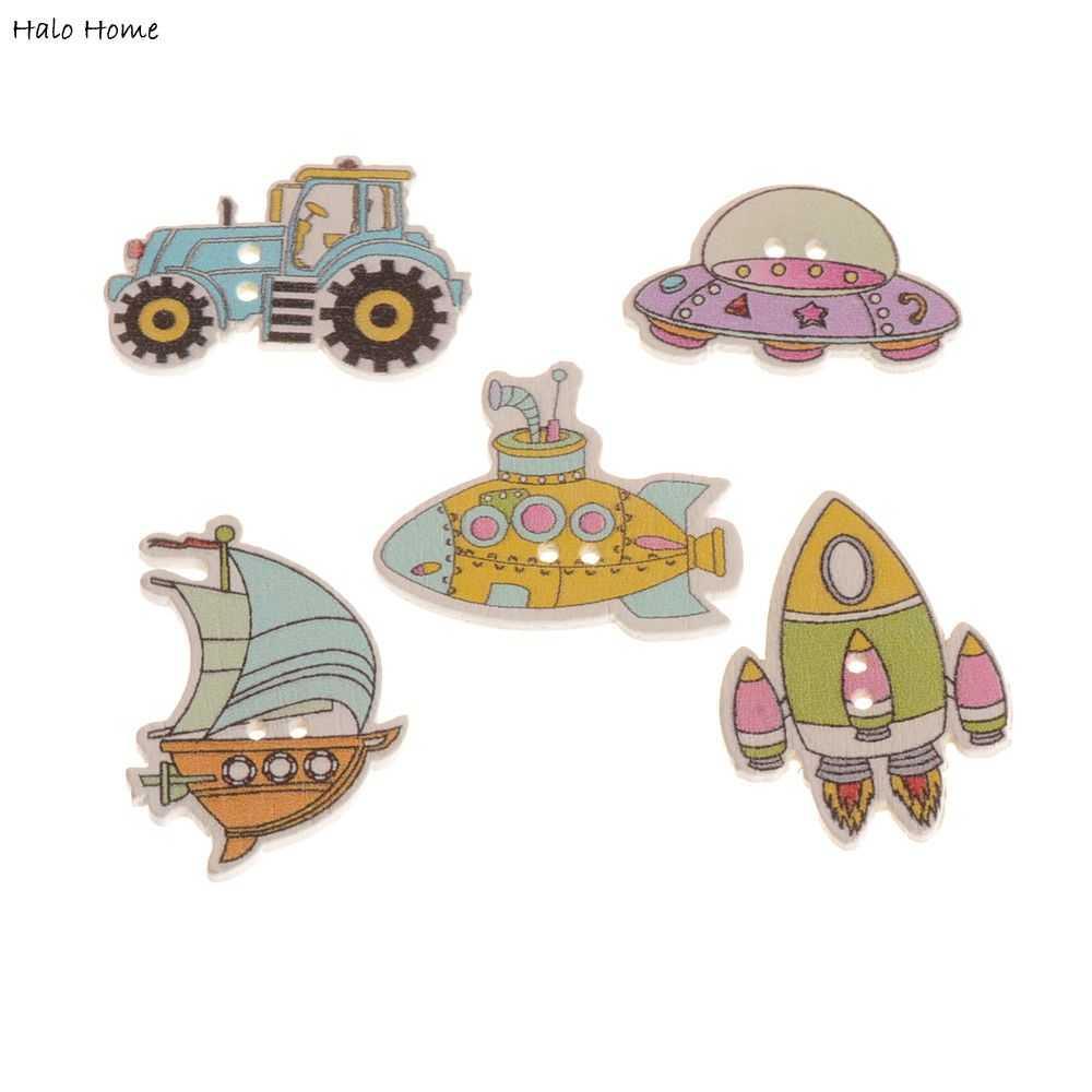 Top Quality Decorative 2 Holes Pattern Conveyance Transport Sewing Button Cartoon Scrapbook Wood 50 Pcs Mixed 18-32mm(China (Mainland))