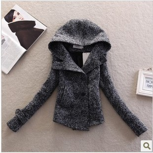 European Style Slim Fit Double Breasted Wool Short Pea Coats Woman New 2015 Autumn Winter Fashion Brand Hoodies Tweed Jackets(China (Mainland))