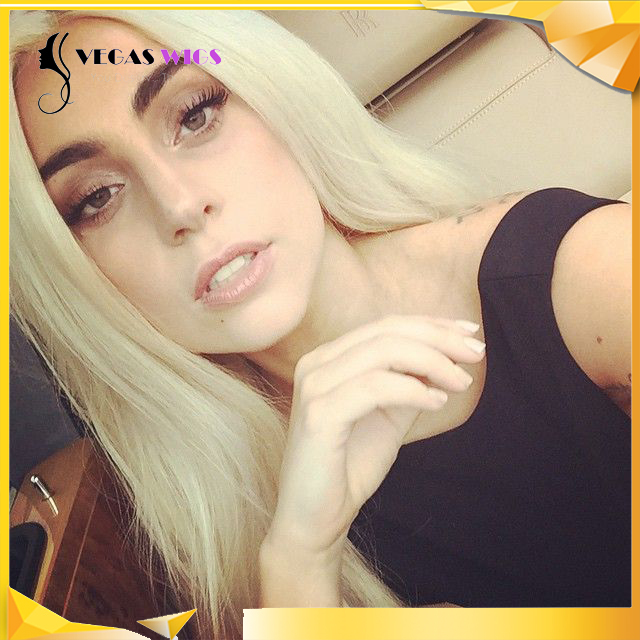 Vegaswigs Natural Wavy Highlight Blonde Color Hairline LadyGaGa Style Synthetic Hair Wigs Medium Cap Wigs(China (Mainland))