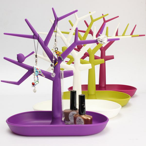 Multifunctional Display Jewelry Tree Branch Shape Plastic Holder Earrings Rings Show Storage Rack Stand(China (Mainland))