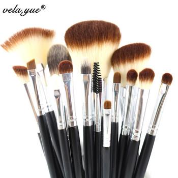 Профессиональный макияж кисти комплект 15 шт. макияж инструмент комплект черный