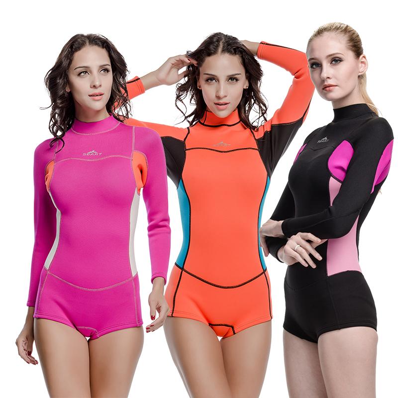 SBART Women Swim Shirt Windsurf Surfing Wetsuit 2mm Diving Swimming Long Sleeve Lycra Snorkeling Surf Rashguard Swimsuit J942