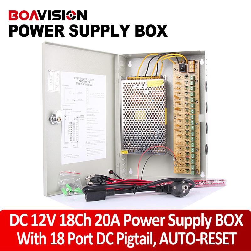 AUTO-RESET18CH 12V 20A 240W Power Box CCTV Power Supply Box Monitor Power Supply / Switch Power Supply for The Camera(China (Mainland))
