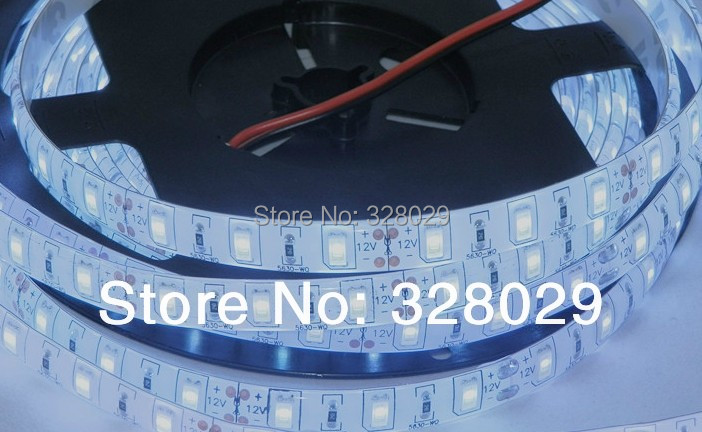 New 5m/lot Led 5630 Chip Strip 60led/m 12V Flexible Strip Light Wterproof White/Warm White SMD5630 Rope Light Free Shipping(China (Mainland))