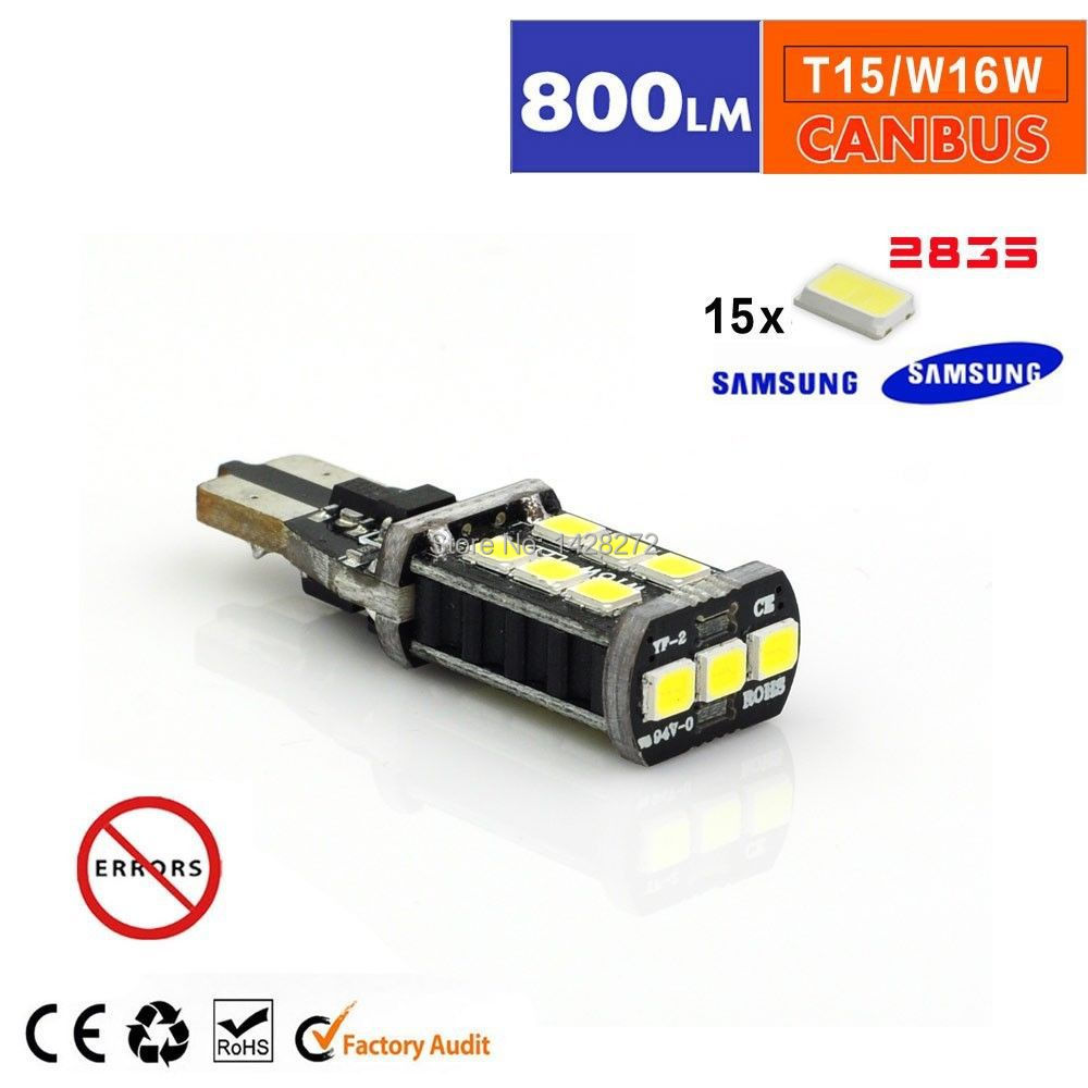 Free shipping 1x Car styling New Canbus Car LED 7.5w T15 LED Reverse Light W16W 15SMD NO ERROR Backup light rear Lamp parking(China (Mainland))