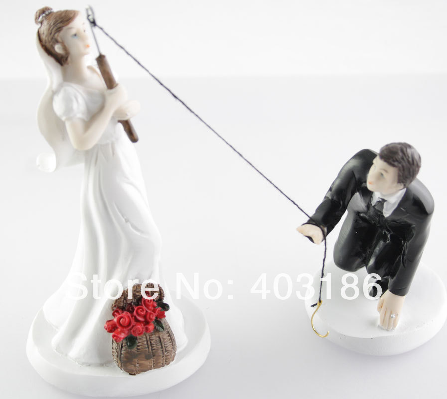 2014 New Fishing The Groom Bride And Groom Funny Wedding Cake Top