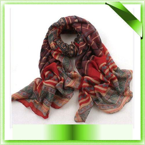 FUNKY Free shipping Fashion Women Cotton Voile Long Tribal Scarf Shawl